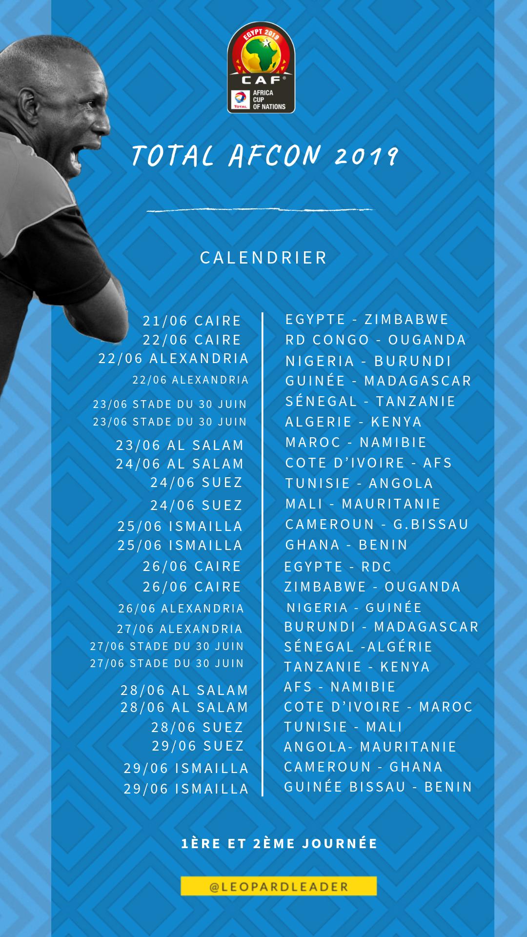 Eliminatoire Can 2019 Calendrier.Calendrier Complet Des Rencontres De La Total Can 2019